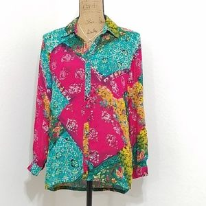 Vibrant pathwork type pattern l/s blouse